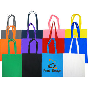 59d131a4b 100% Dyed Cotton Shopper,5oz, Long Handle (60cm) 380 x 420mm. Colours: Black,  Red, Navy, White, Royal Blue, Green, Pink. Bespoke available!